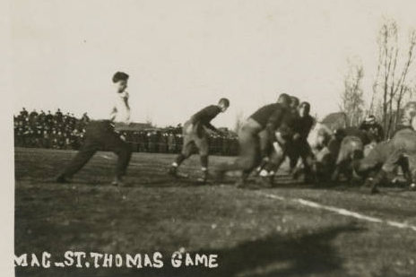 The 1915 Macalester football team competes against St. Thomas. Photo courtesy of Macalester Archives.