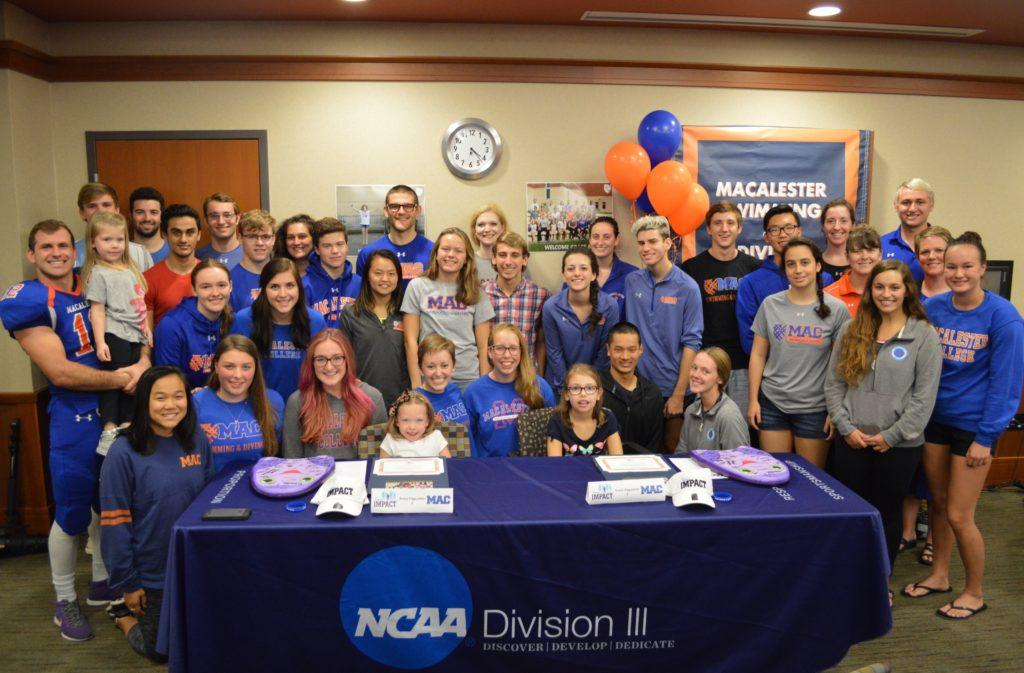 Members+of+the+Macalester+athletic+community+gather+together+to+celebrate+and+welcome+Avery+and+Grace+Dagustino+to+the+swim+and+dive+team.+Photo+by+Rajnee+Persaud+%E2%80%9919.