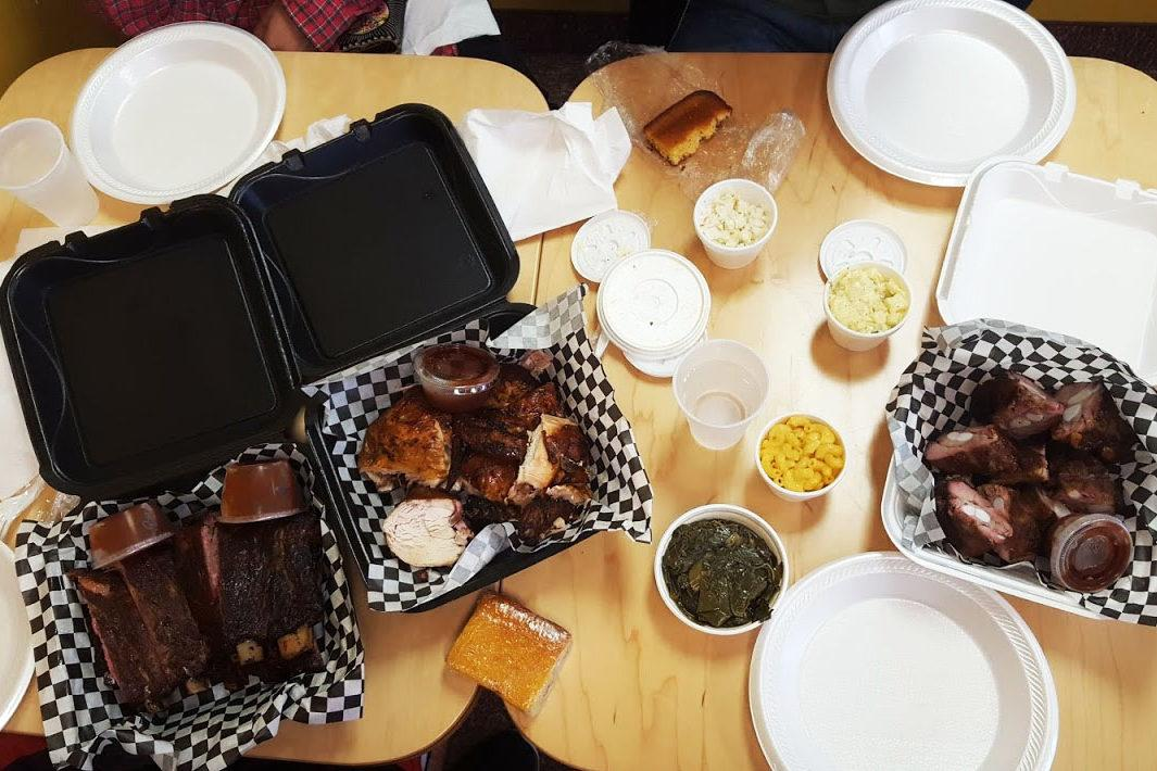 An array of Big Daddy's barbecued meats, including ribs and rib tips. Photo by Henry Nieberg '19.