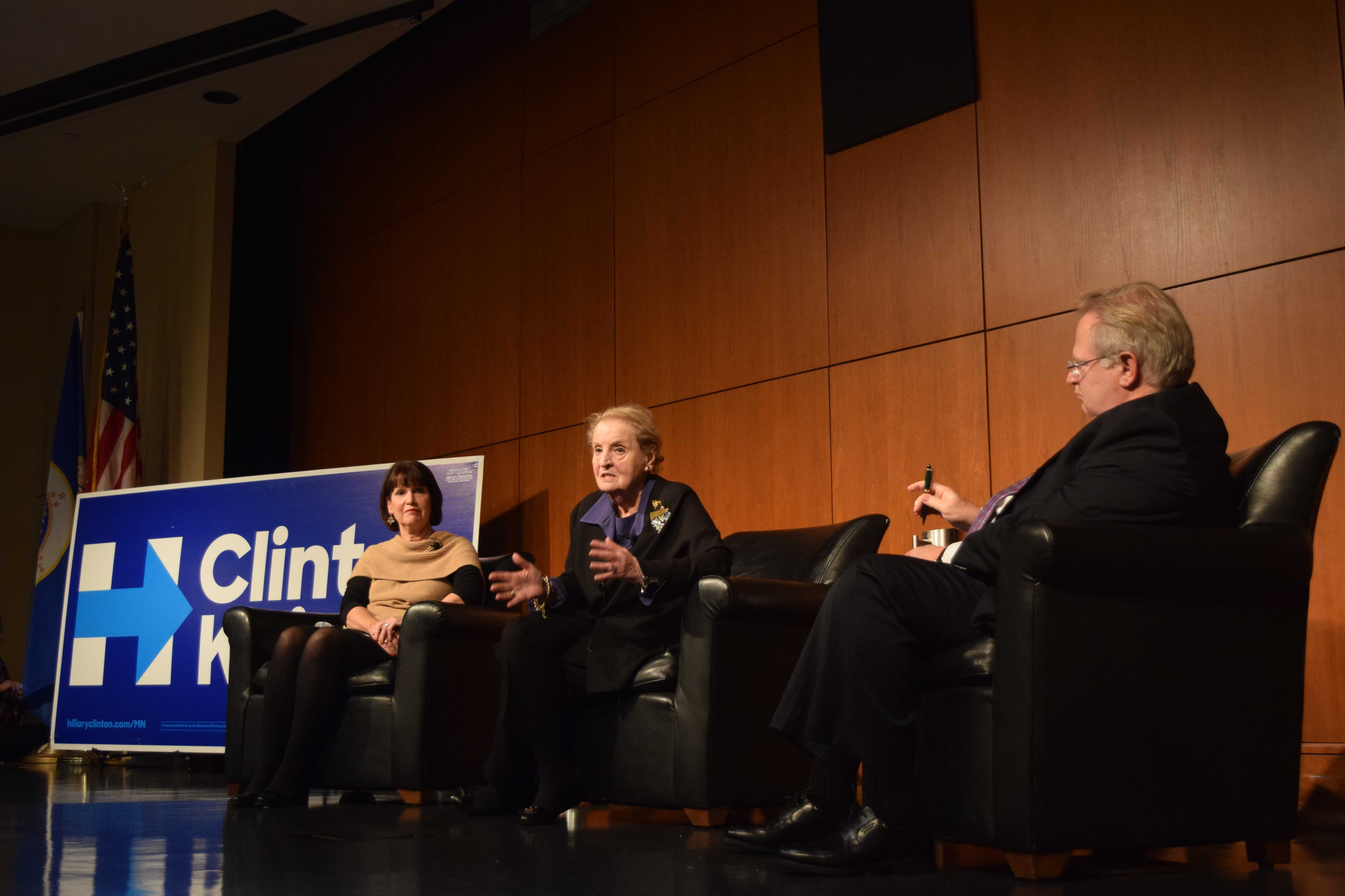 Former U.S. Secretary of State Madeleine Albright discussed national security with former U.S. Assistant Secretary of State Eric Schwartz and Minnesota Representative Betty McCollum at a roundtable discussion on Tuesday, October 18. Photo by Maddie Jaffe '17.