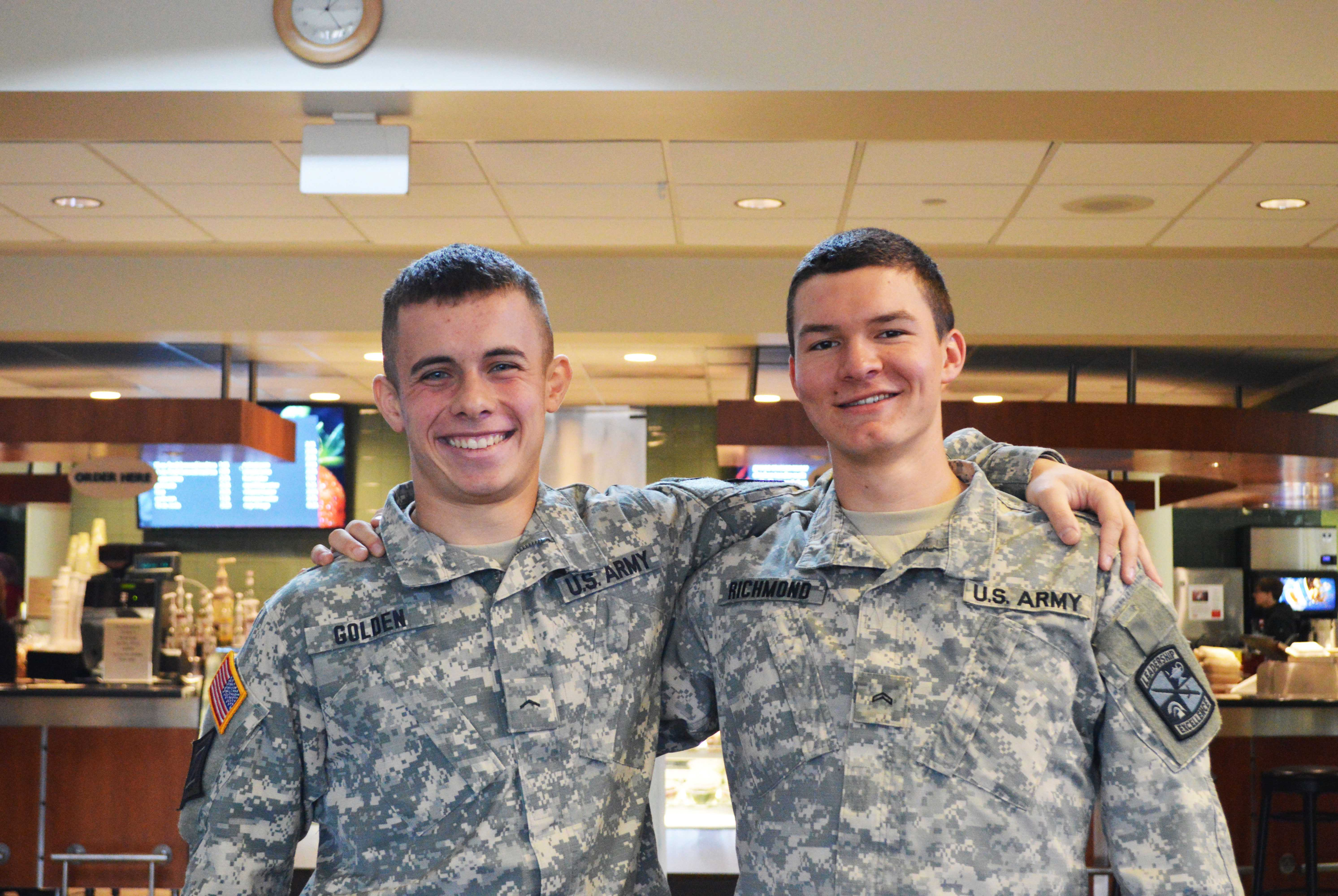 Levi Golden '20 and Sam Richmond '19 suit up every Wednesday as part of their ROTC program. Both are involved in varsity athletics at Mac in addition to their ROTC commitments. Photo by Rajnee Persaud '19.