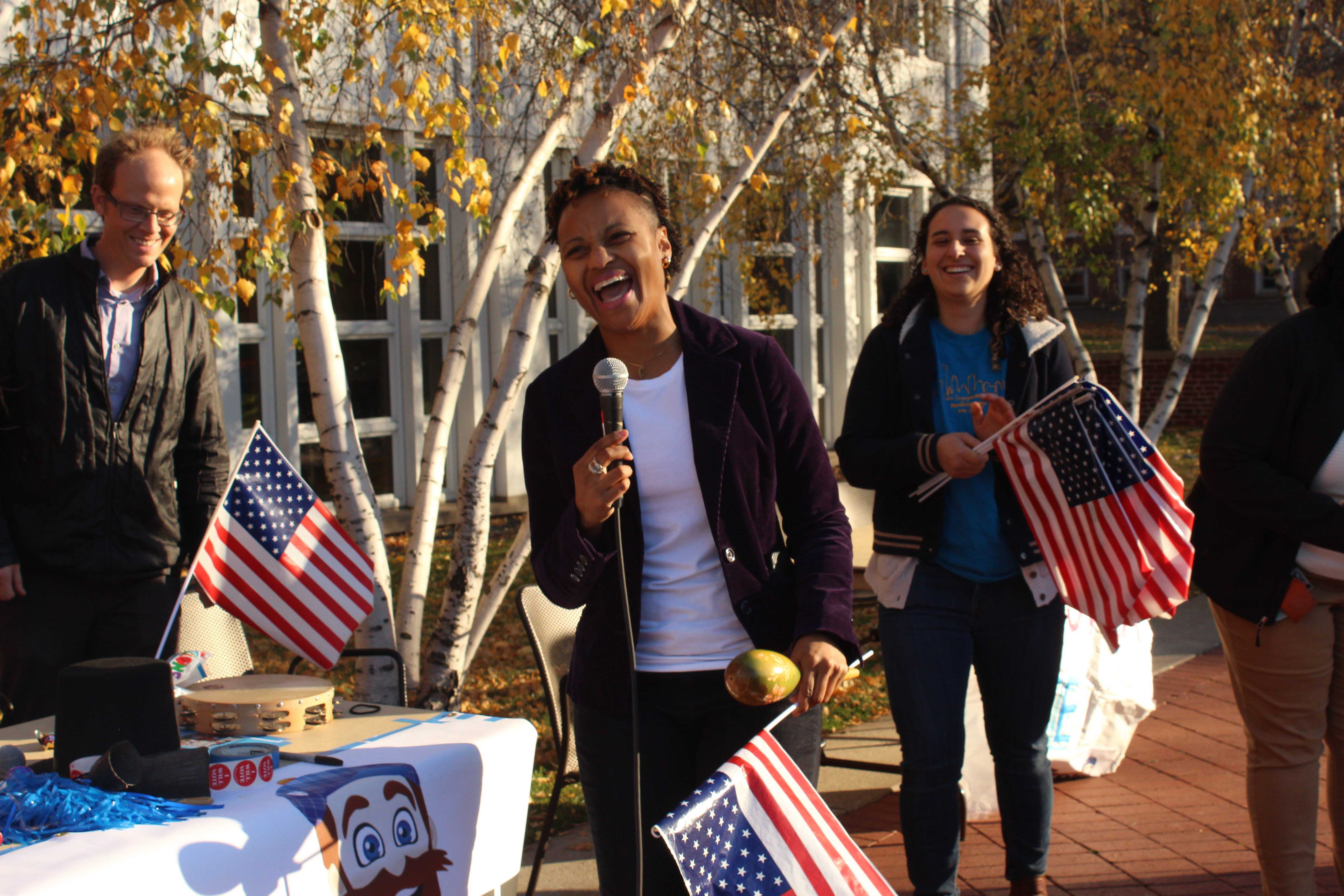 Dean of Students DeMethra LaSha Bradley leads a voting parade on Election Day. Photo by Shireen Zaineb '20.