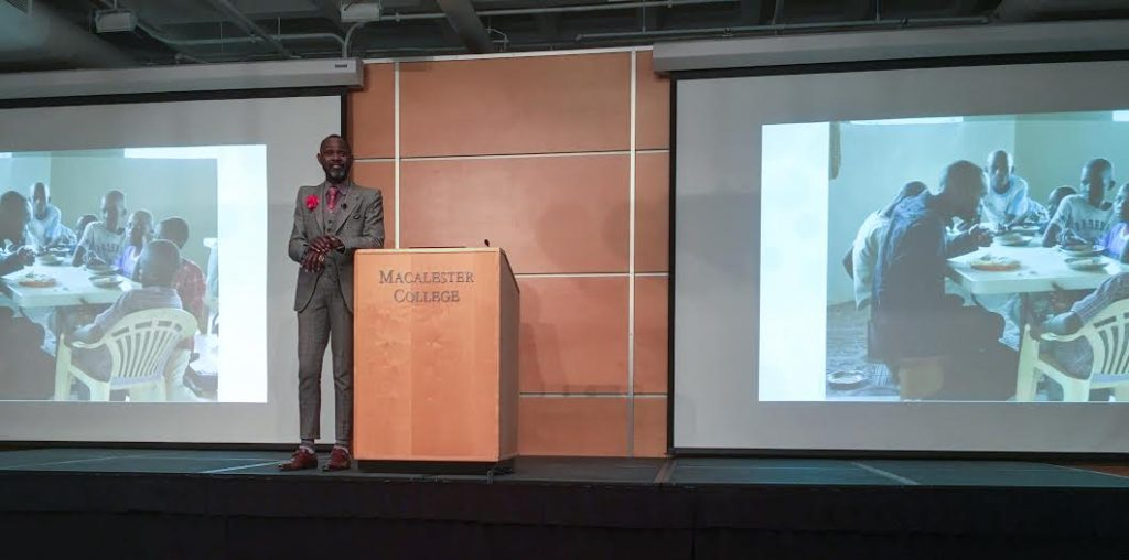 Derreck Kayongo, founder of the Global Soap Project. Kayongo spoke to the importance of entrepreneurship and service in his life. Photo by Mackenzie O'Brien '19.