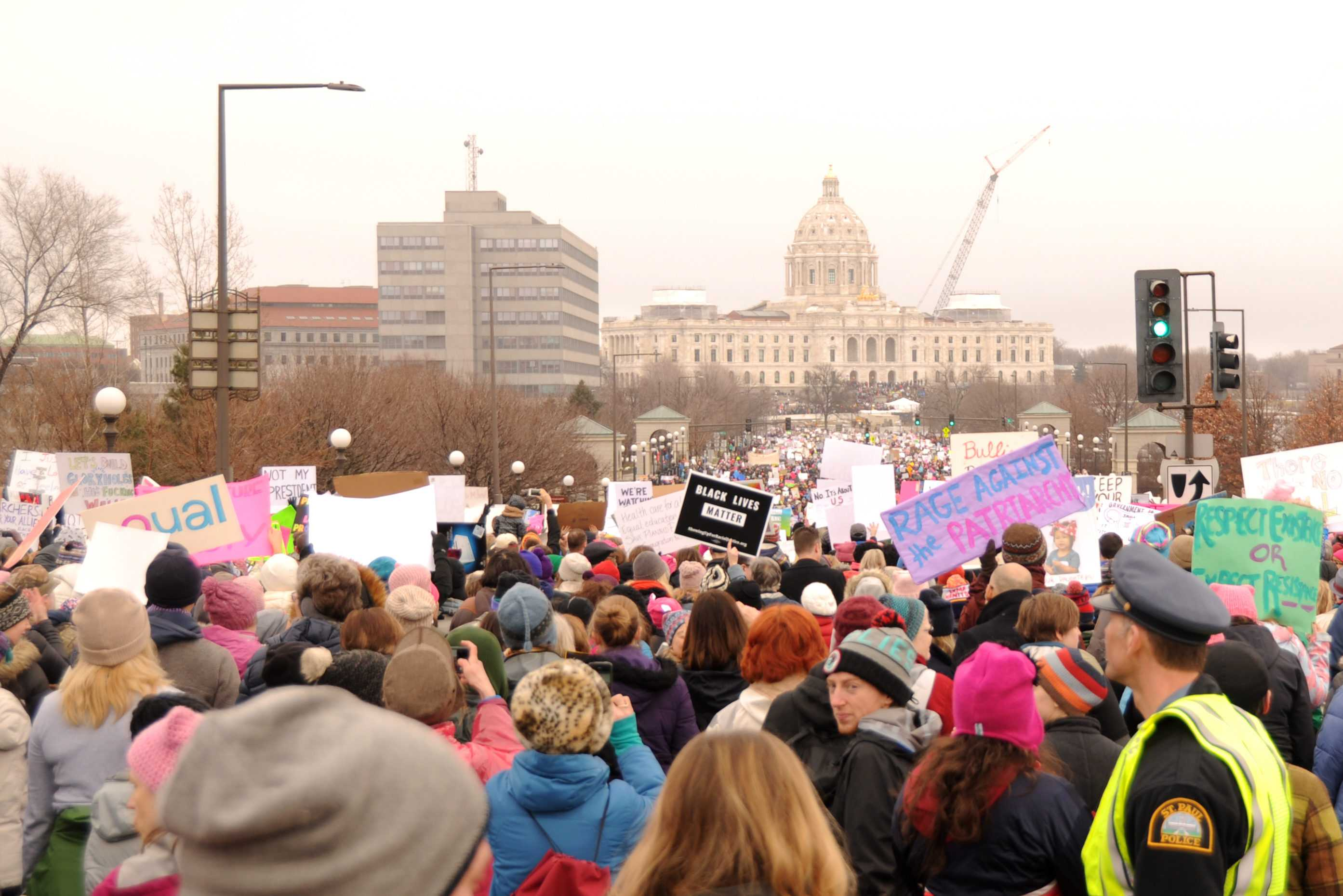 Between 90,000 and 100,000 people converged on the St. Paul Capitol building on Saturday, Jan. 21 for the Minnesota Women's March.  Photo by Maya Rait '18.
