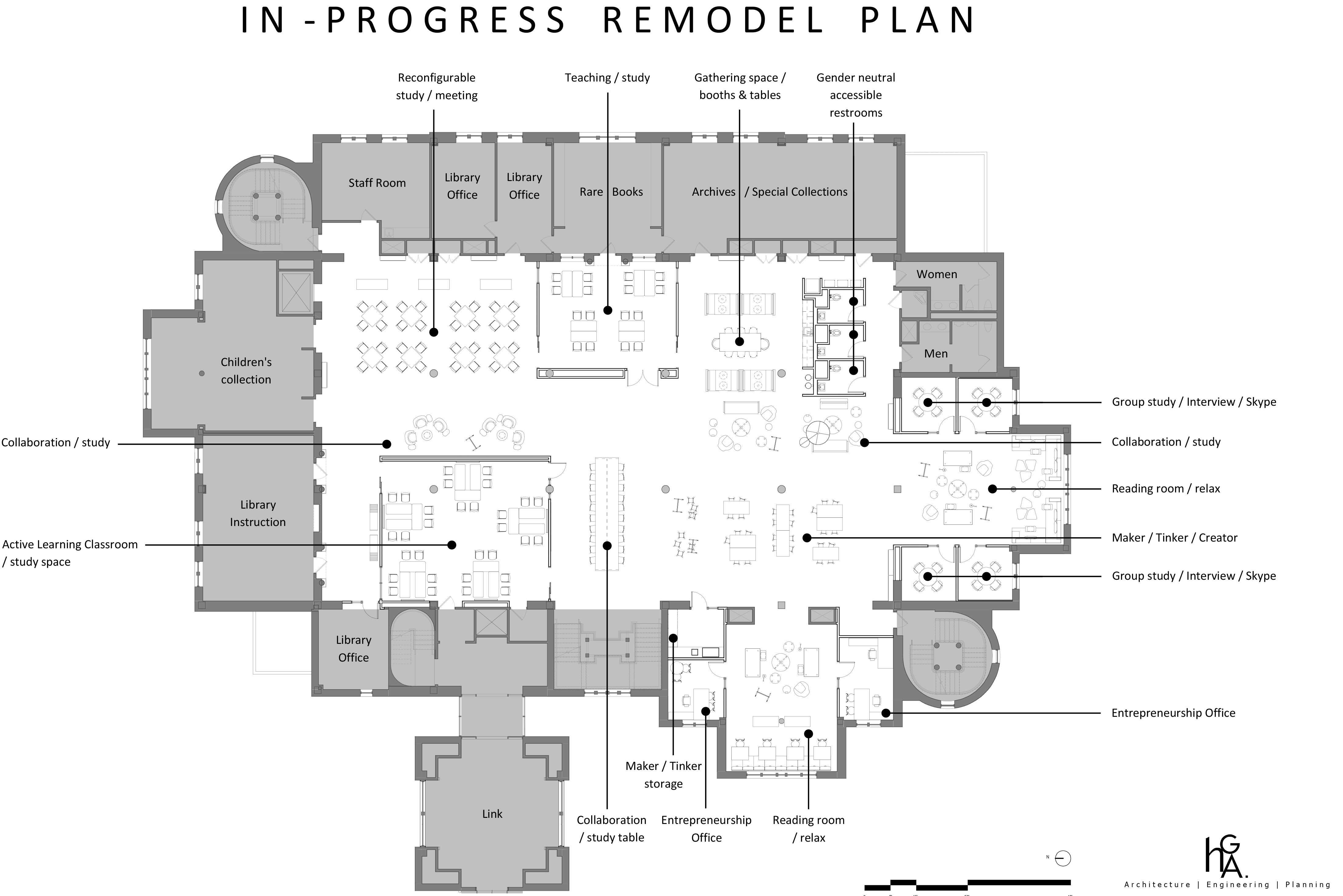 Preliminary floor plans for the second floor renovations include a maker space, a coffee bar and new offices for the entrepreneurship program. Existing reading rooms will be untouched or re-configured and new study space added. Grey sections along the periphery represent existing sections that will not be altered. Courtesy of David Wheaton.