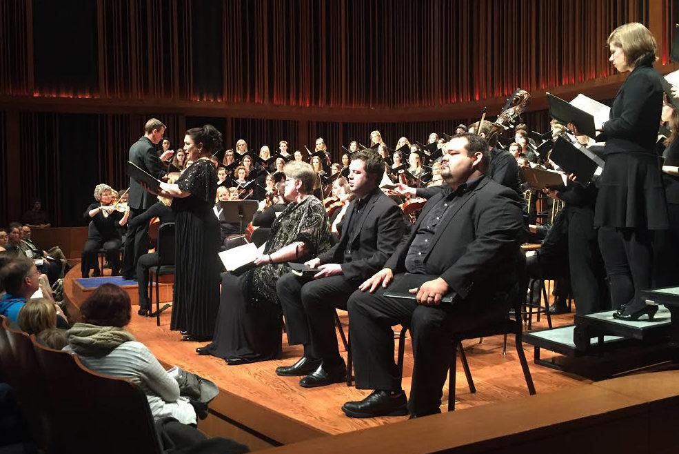 Macalester's Chorale and Concert Choir peform alongside four professional soloists. Photo courtesy of Jane Kollasch.