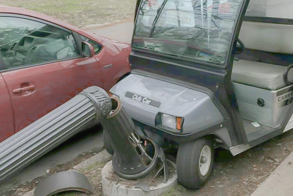 Golf cart joyride on edge of campus ends in damage, arrest of middle schoolers