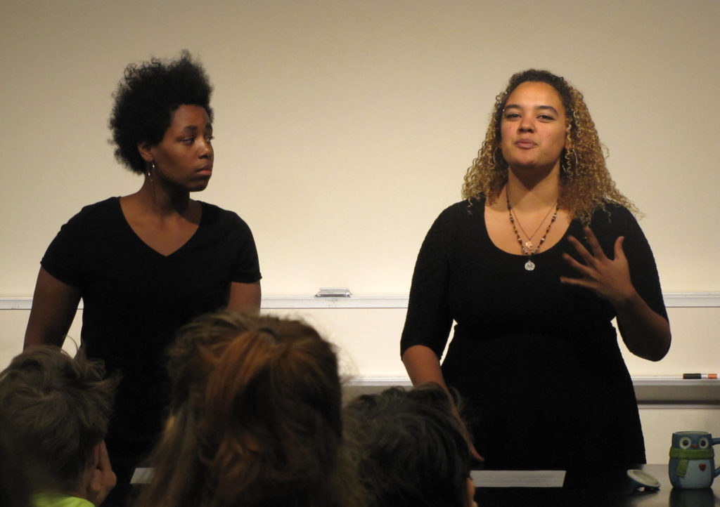 Errol+Phalo+%E2%80%9917+and+Abigail+Poole+%E2%80%9919+speak+at+the+Stop+White+Noise+panel+discussion.+The+panel+tackled+issues+of+racism%2C+allyship+and+call-out+culture.+Photo+by+Maya+Rait+%E2%80%9919.