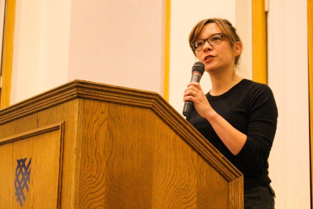 Amy Thielen '19 discusses her memoir Give a Girl a Knife. Photo by Kori Suzuki '21.