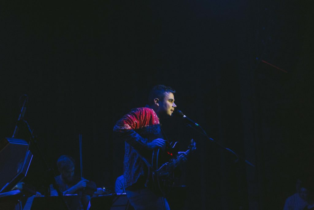 "Rostam sings the verse of album highlight ""Sumer,"" backed by a powerful string quartet. Photo by Marin Stefani '18."