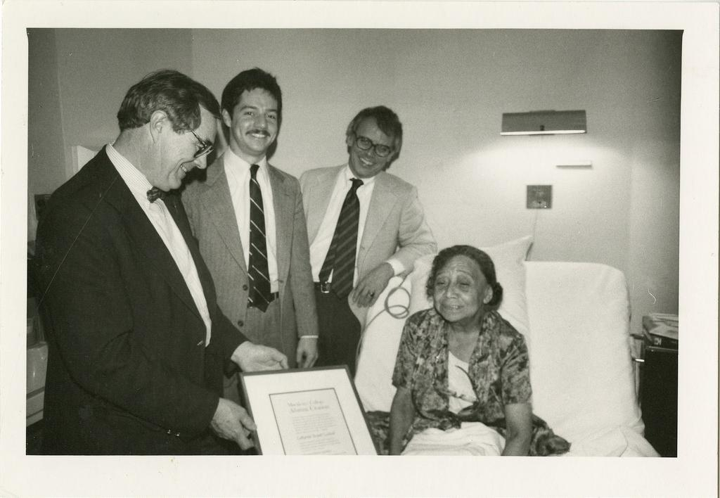 "Dr. Catharine Lealtad being presented her second honorary degree ""Doctor of Humane Letters"" in 1983.  Photo courtesy of Macalester Archives."
