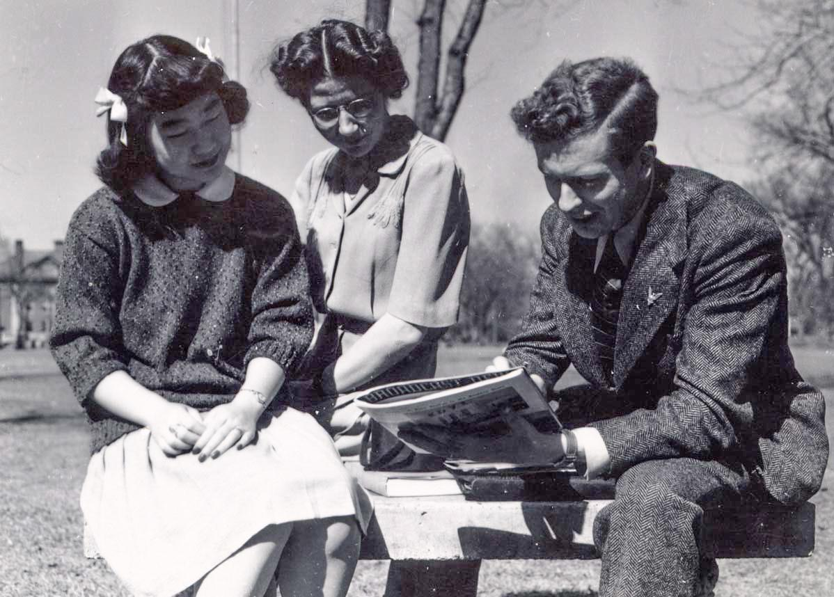 Founder Esther Suzuki with a group of friends during her time at Macalester. Suzuki graduated from Macalester in 1946 and is remembered, along with Catharine Lealtad, with the Lealtad-Suzuki Center. Photo courtesy of Macalester Archives.