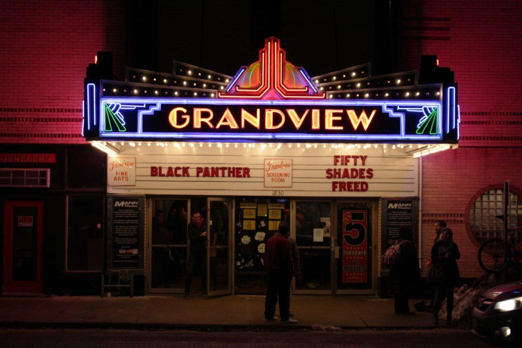 "The front entrance of the Grandview Theatre on 1830 Grand Ave. where ""Black Panther"" is playing. Photo by Kori Suzuki '21."