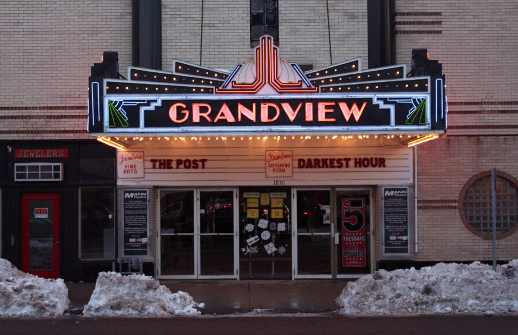 The Grandview Theatre on Grand Avenue, showing The Post. Photo courtesy of Kori Suzuki '21.