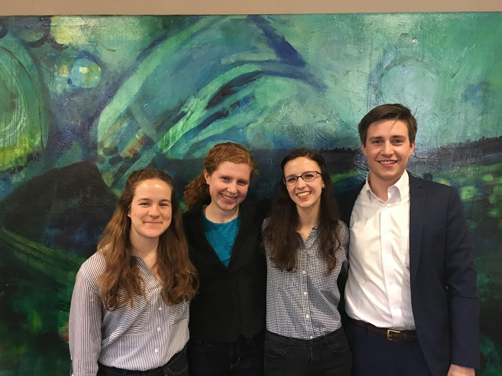 Members of Fossil Free Mac. From left to right: Malia Becker '20, Hannah Shumway '19, Liv Scott '20 and Jack McCarthy '18.