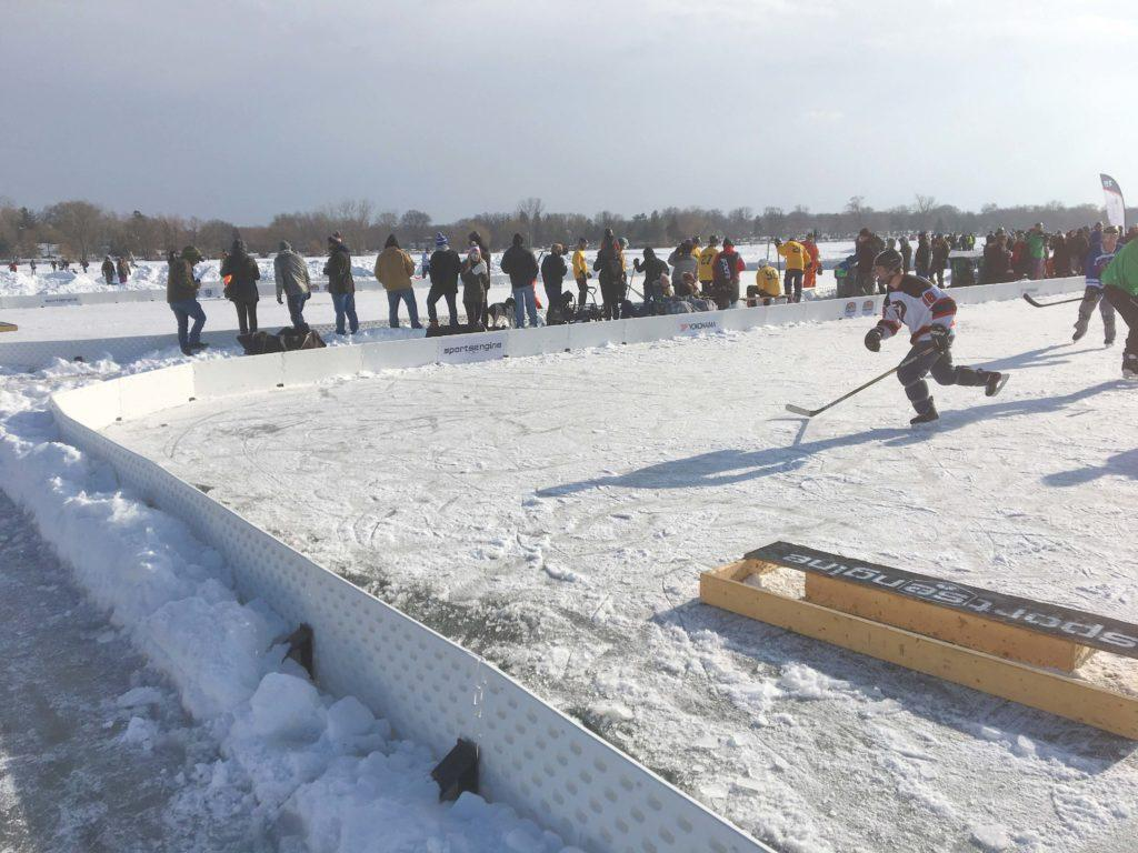 The U.S. Pond Hockey Championships attracted teams from a variety of different locations and skill-levels. Photo by Liam McMahon '20.