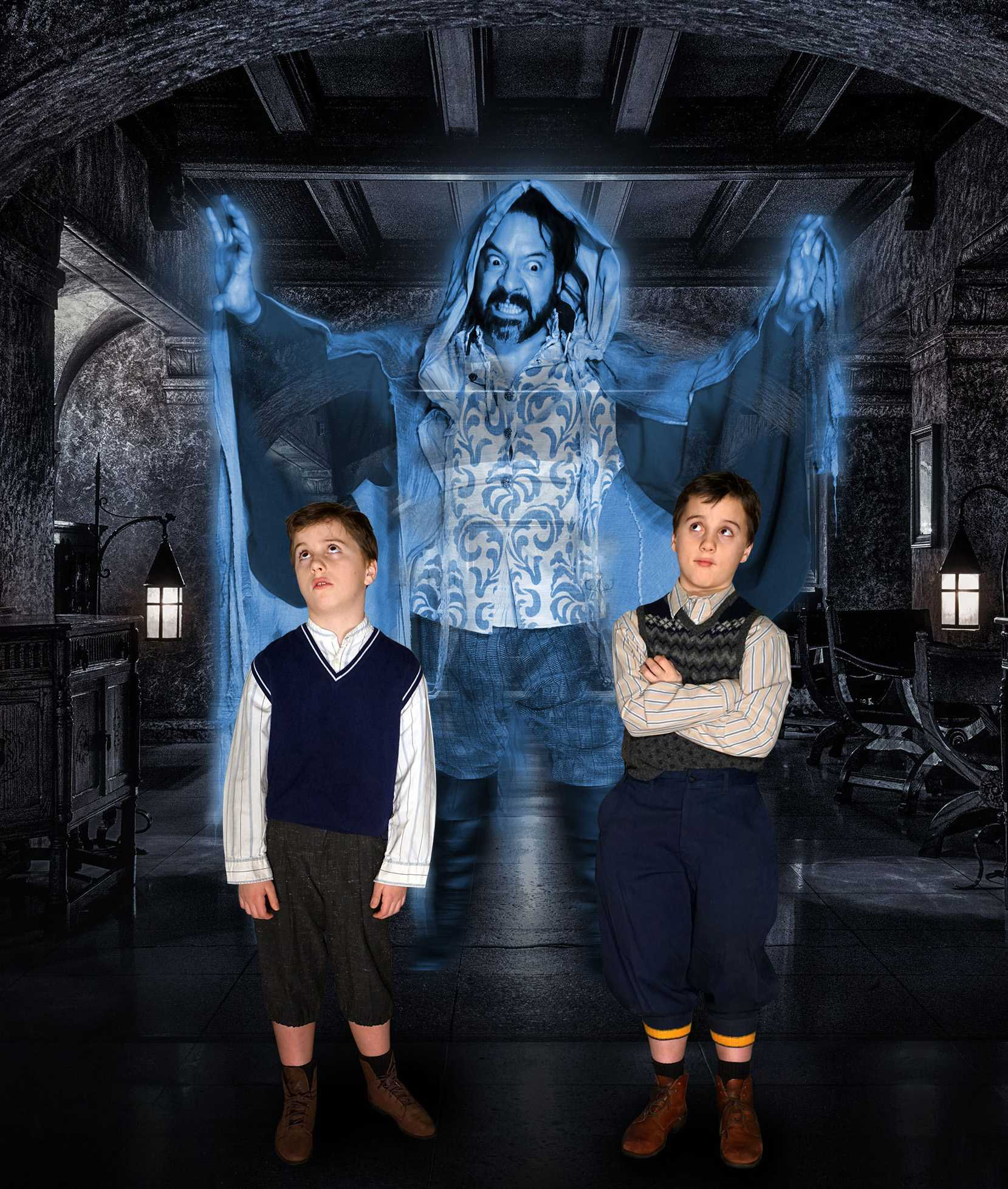 The spirit of Sir Simon Canterville has haunted his English mansion for more than 500 years, but he's appalled at the invasion of his home by Americans and determined to scare them out. (back: Mark L. Mattison; front: Edwin Henderson, left, and Emmett Henderson, right). Photo courtesy of Bob Suh.