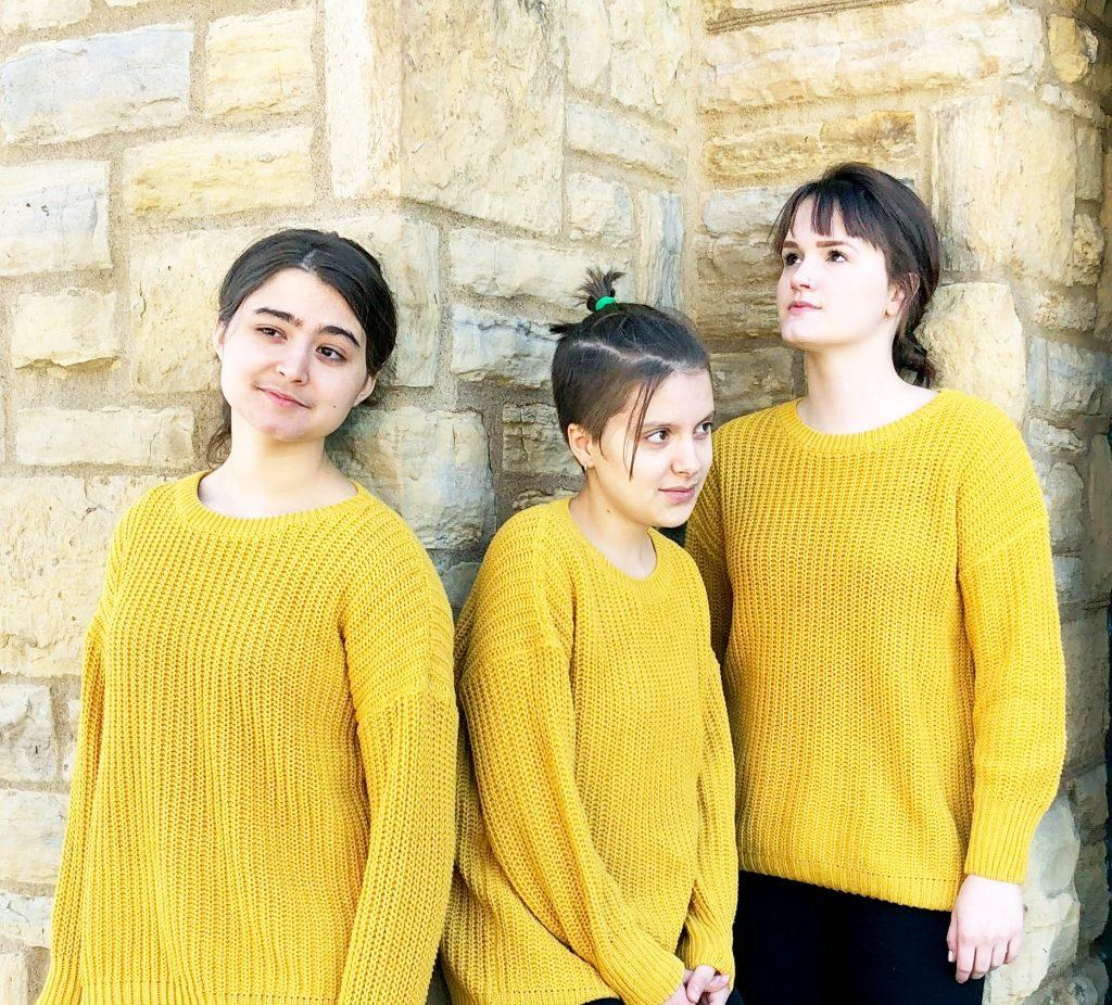 """The cast of """"Dirk and Others Still With Us."""" Left to right: Marisa Peredo '20, Jesse Claire '20 and Elinor Jones '21. Photo by Anna Brujin '18."""