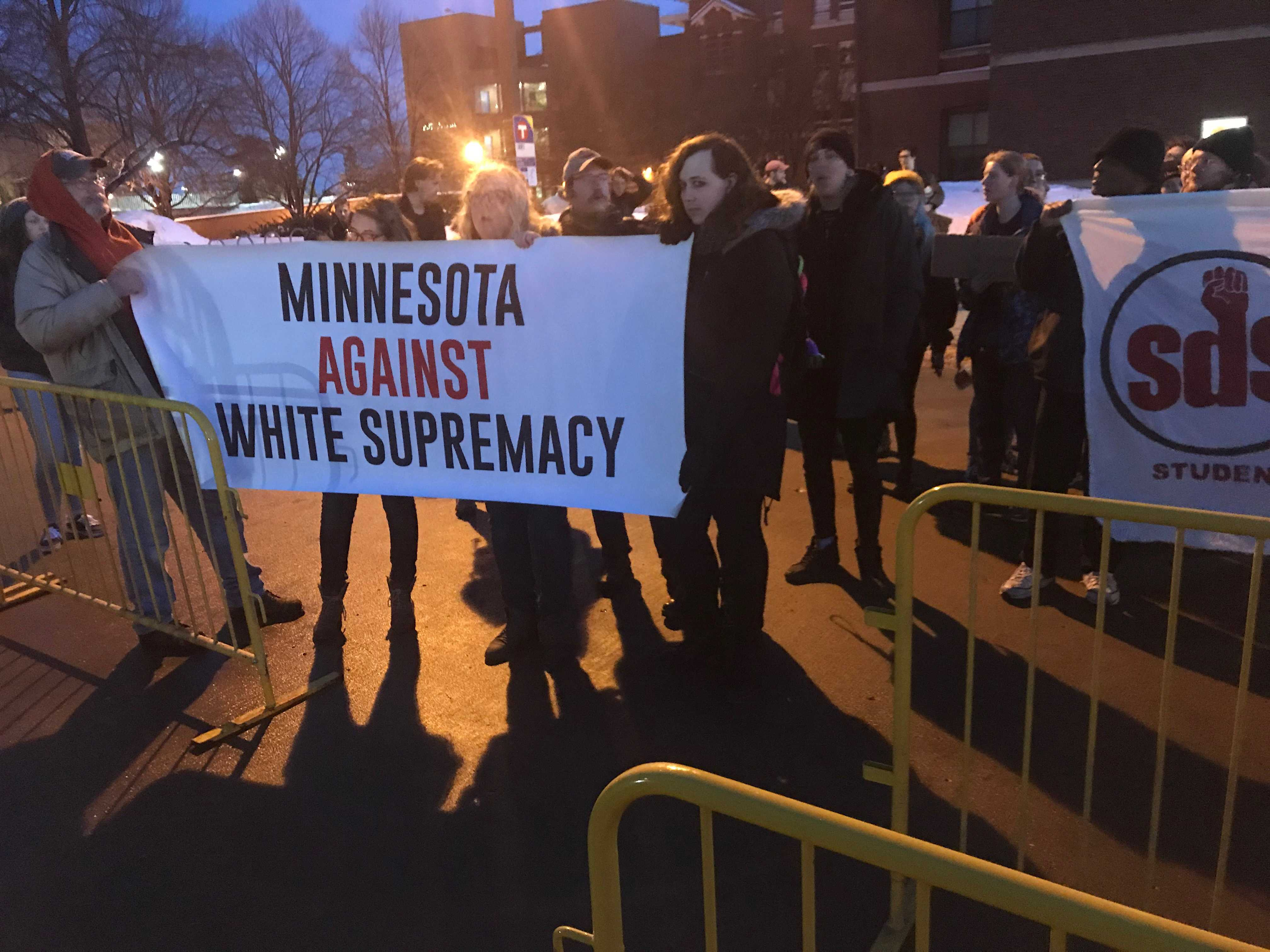 Students from the University of Minnesota protest the appearance of far-right writer and talk show host Ben Shapiro at the school's St. Paul campus. Photo by Hannah Catlin '21.