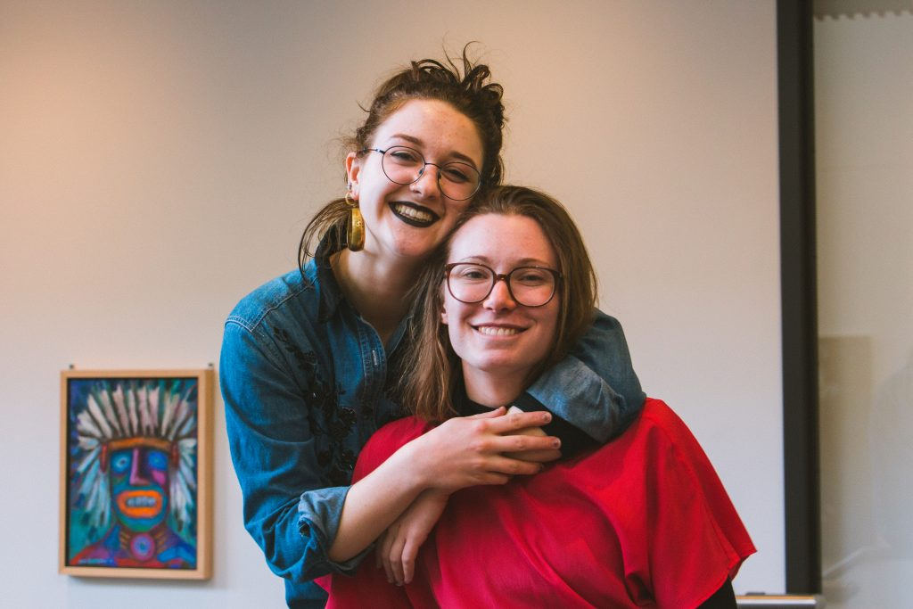 Diana Stone '19 and Halley Norman '19, the creators and curators of the Art Gallery Progressive. Photo by Marin Stefani '18.
