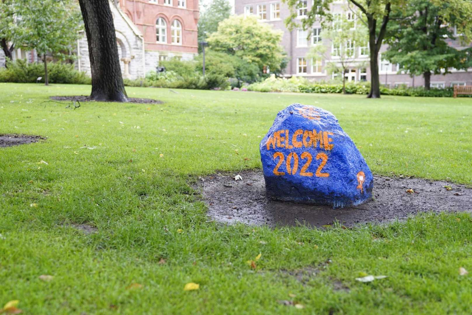 The rock, painted to welcome the Class of 2022. Photo by Ally Kruper '21.