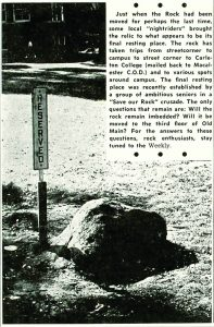 What is the true history of the campus rock?