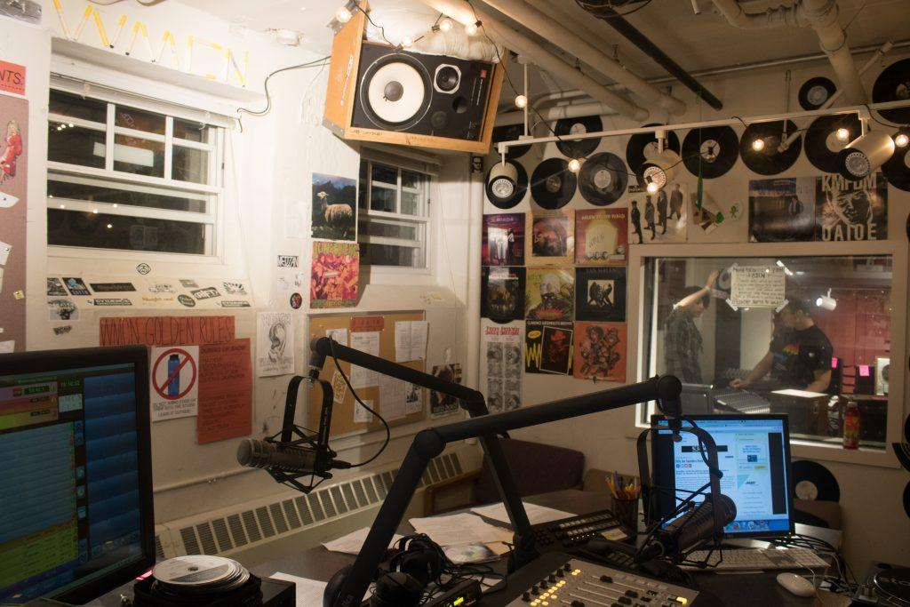 The WMCN studio, located in the basement of Wallace Hall. Photo by  Noah Zwiefel '19.
