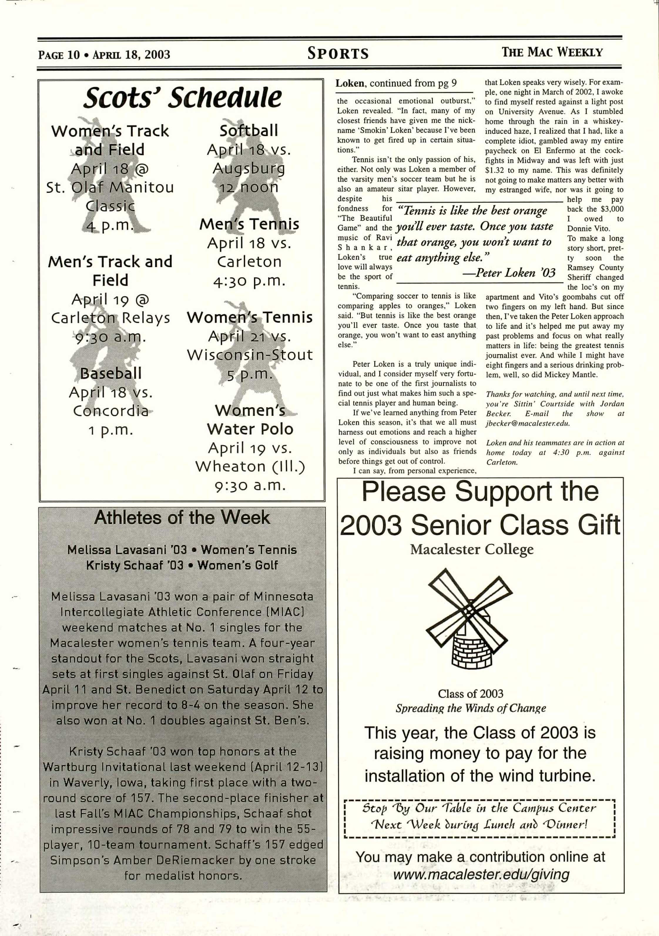 Ad from a 2003 Mac Weekly issue. Photo courtesy of Macalester Archives.