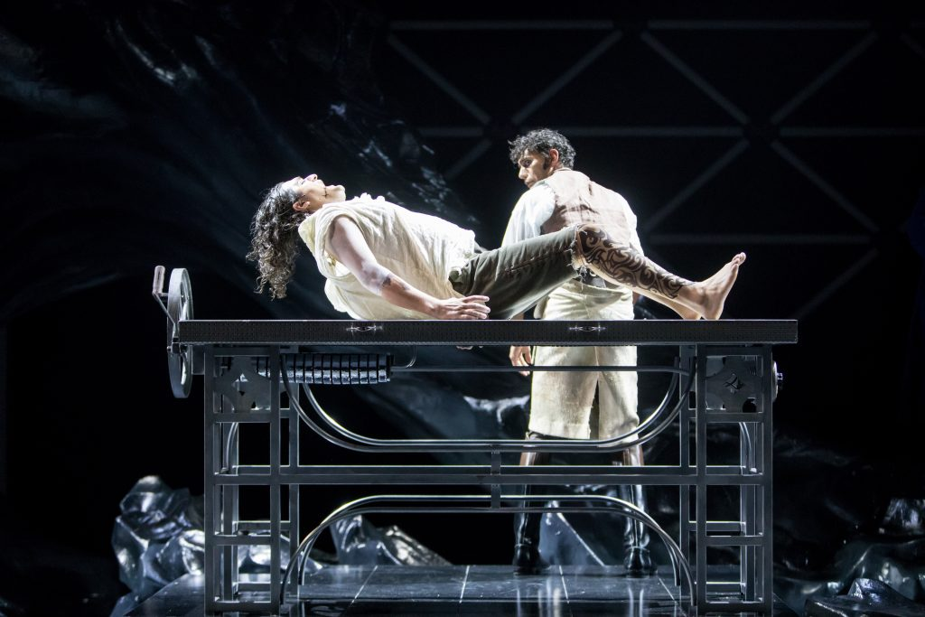 Left to right: Adam (Jason Rojas) and Victor (Ryan Colbert) in the Guthrie Theater production of Frankenstein – Playing with Fire. Photo by Dan Norman.