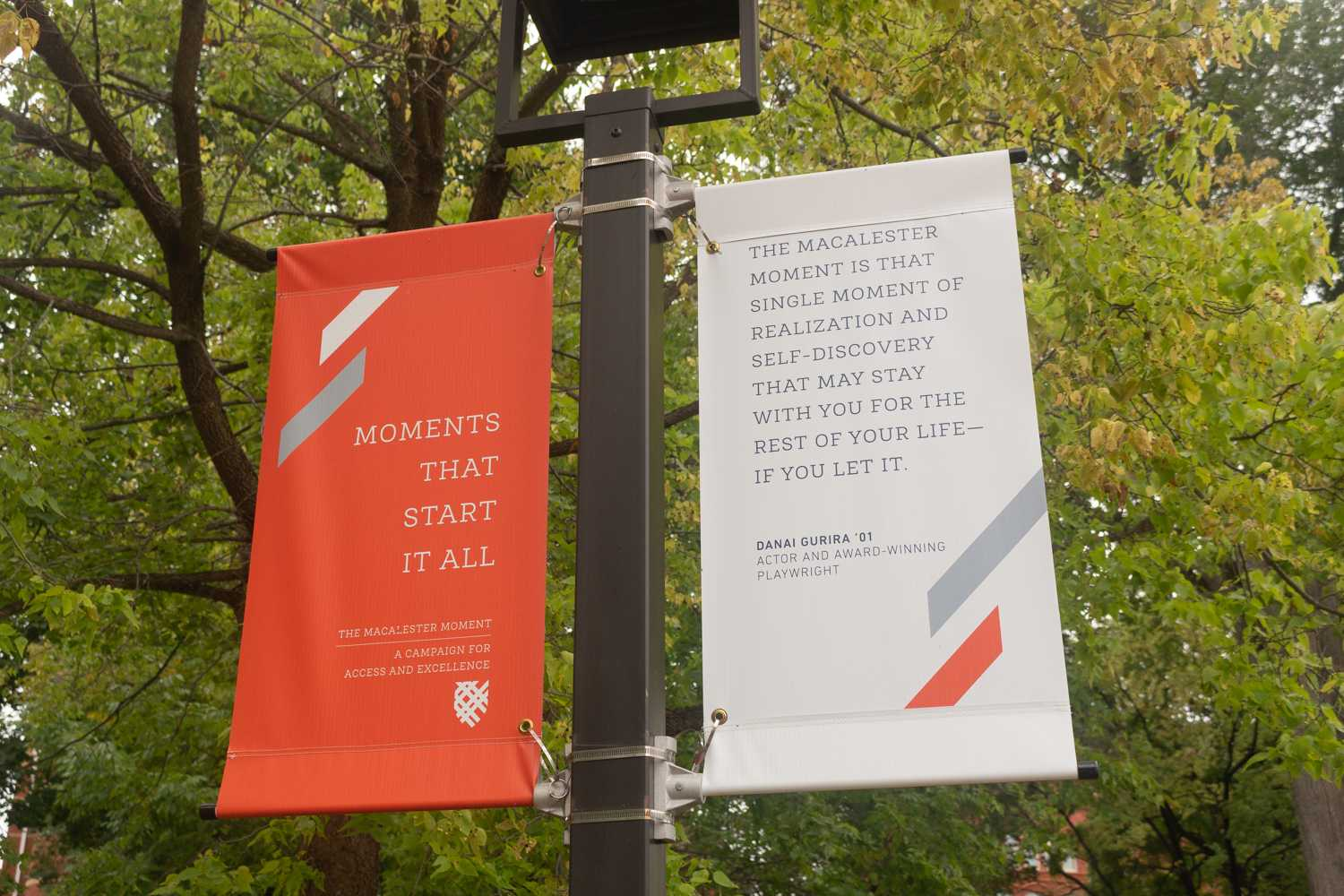 A Macalester Moment banner featuring a quote from Danai Gurira '01. Photo by Long Nguyen '21.