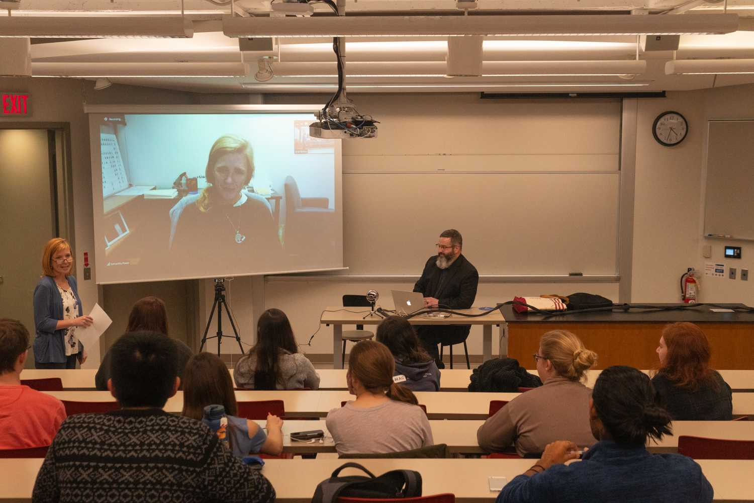 Former United Nations Ambassador Samantha Power discusses her work with students via Skype. Photo by Long Nguyen '21.