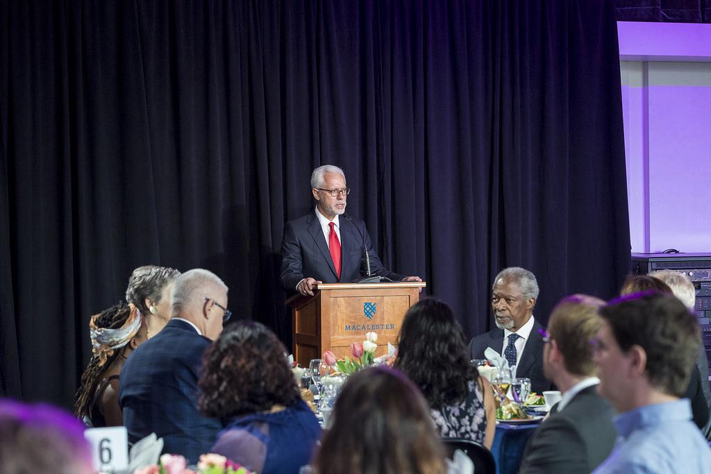 President Brian Rosenberg speaks at an event in May. Photo courtesy of Macalester Communications and Marketing.