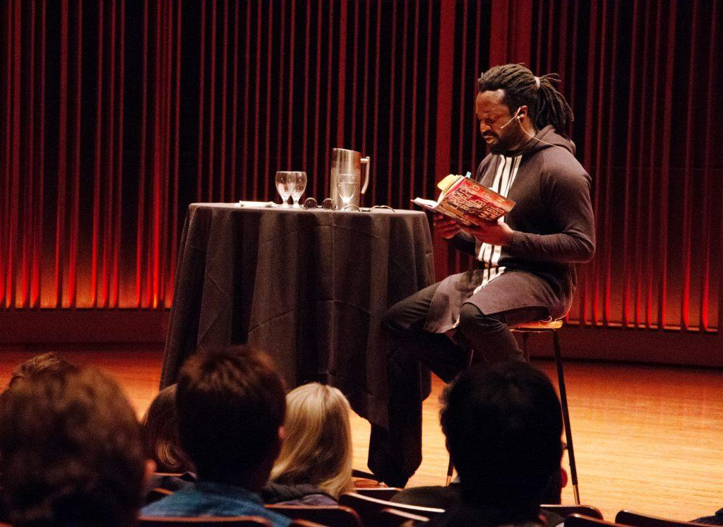 Marlon James reads an excerpt of Black Leopard, Red Wolf in Mairis Concert Hall. Photo by Michael Bohman '19