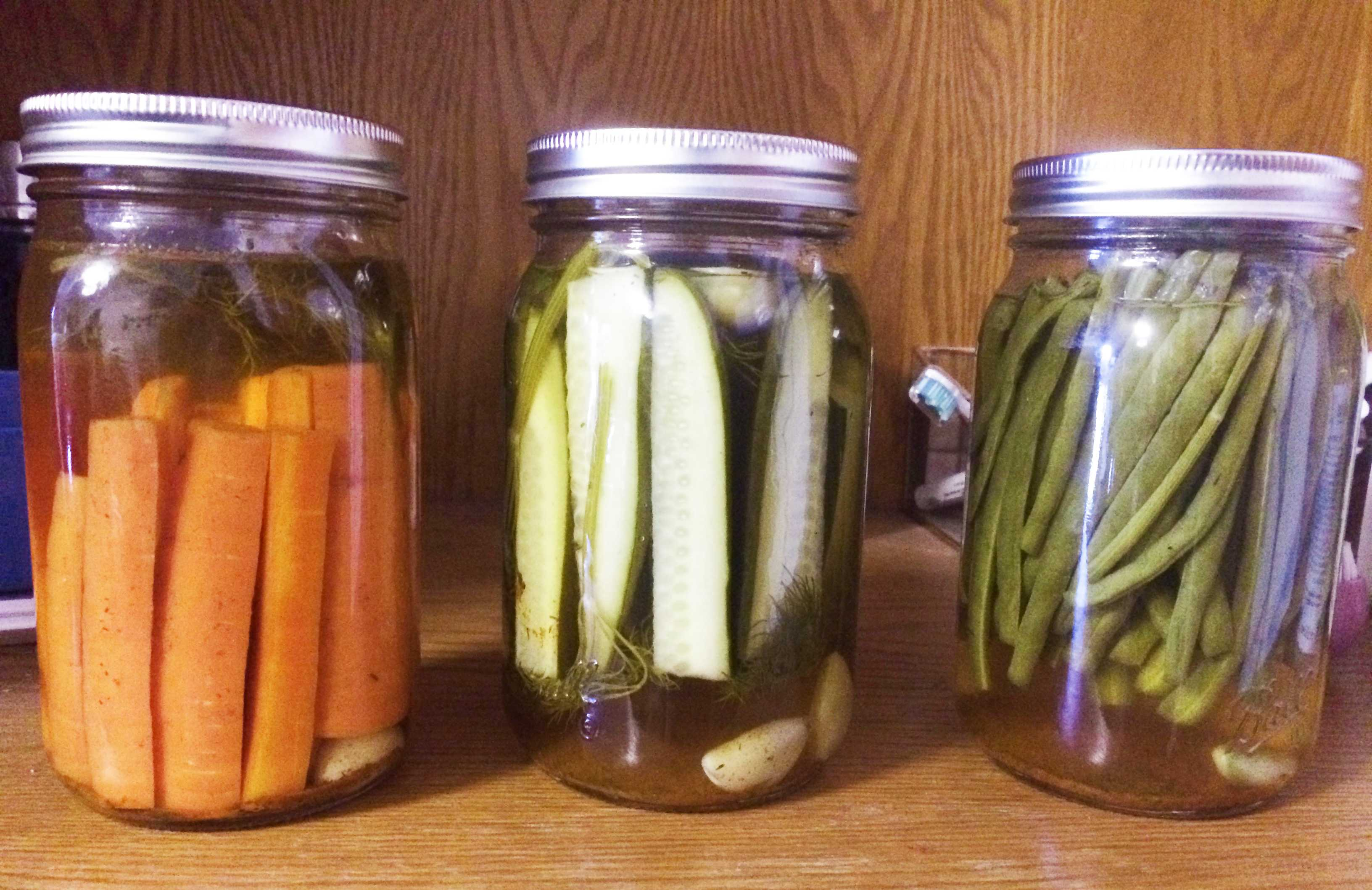 Pickled carrots, cucumbers and green beans from Gallandt, Fried and Jones' first batch. Photo by Nora Fried '22.