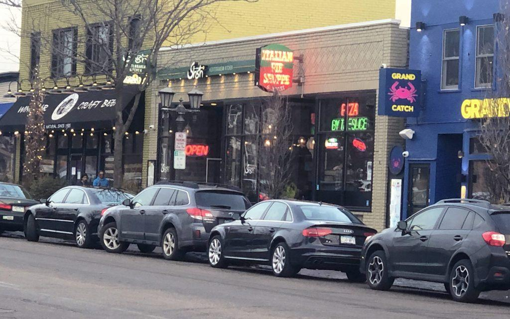 Restaurants on Grand Ave. Photo by Margaret Moran '21.