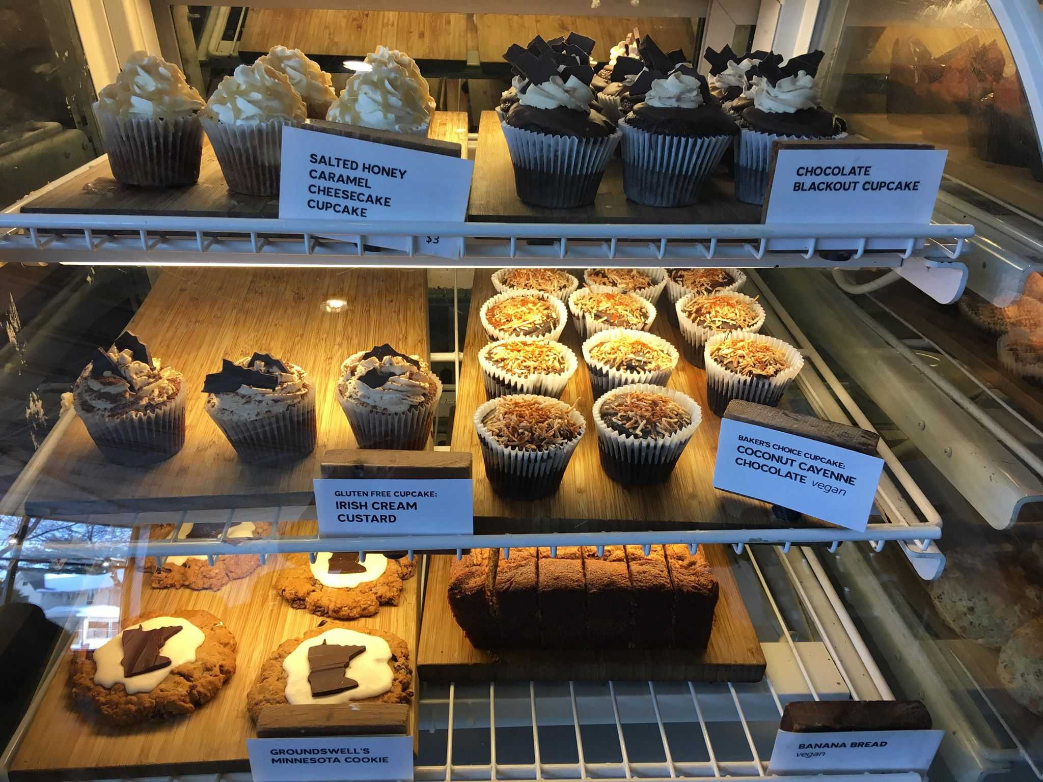 The array of baked good at Groundswell, including the cupcake Hestad sampled.  Photo by Anna Hestad '19.