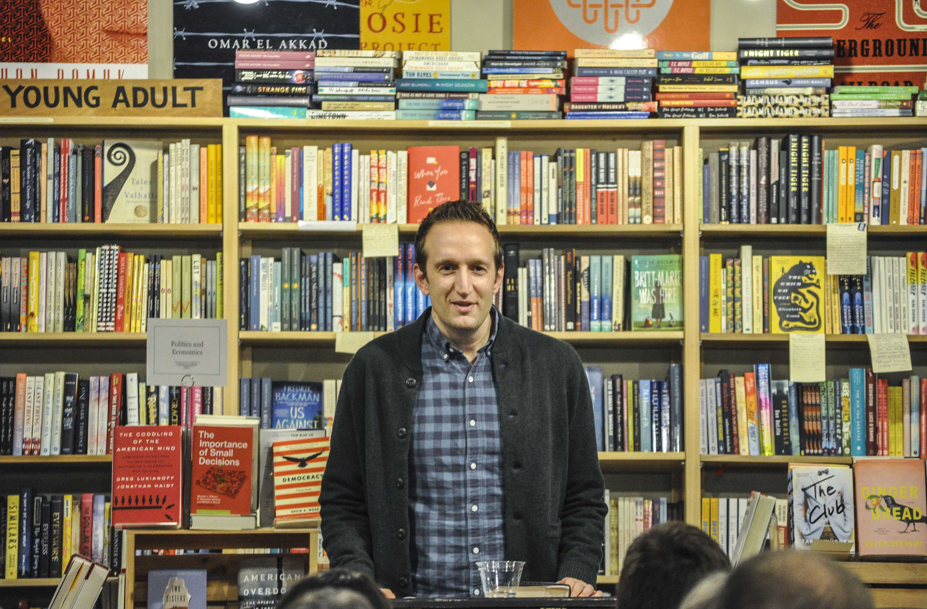 "At his book launch, Macalester professor Peter Bognanni read excerpts from ""This Book is Not Yet Rated,"" which is his third novel and his second YA novel. Photo by Estelle Timar-Wilcox '22."