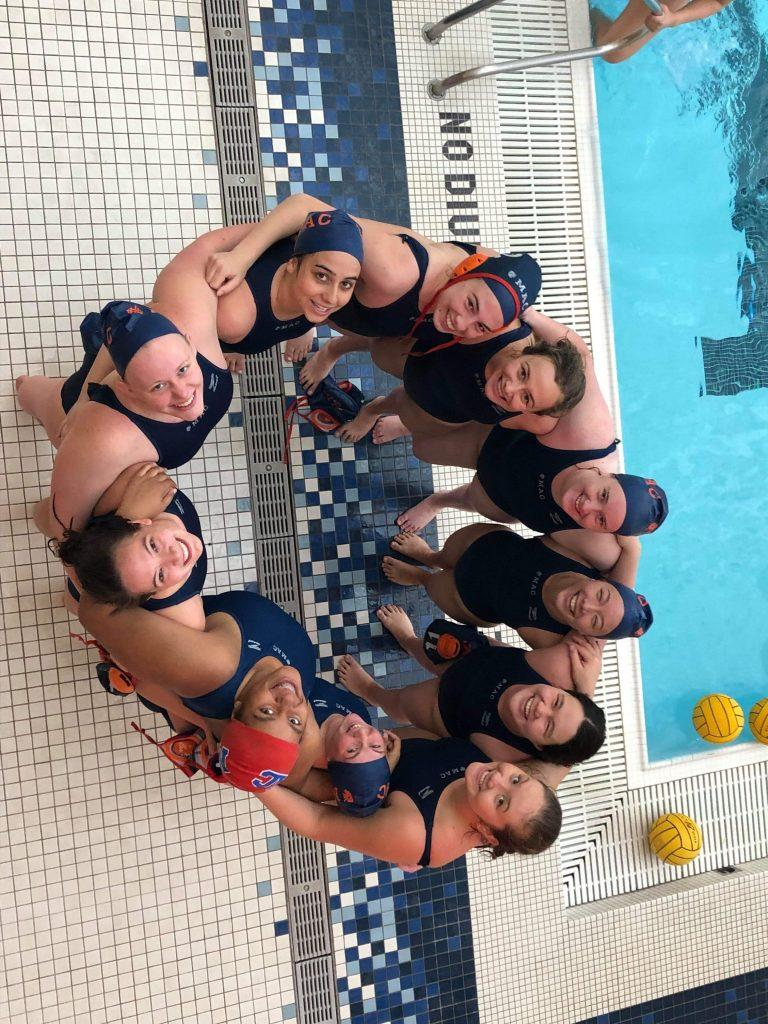 Women's Water Polo team at CWPA Championships. Photo by Patricia Andreski.