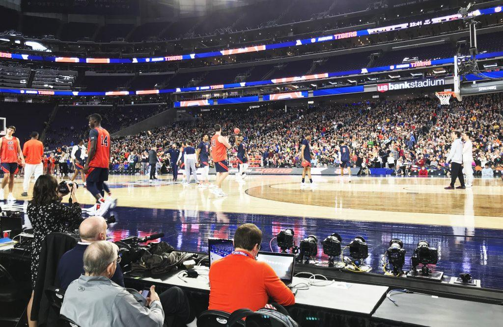 The Auburn Men's Basketball team takes the court during their open practice for the Final Four at US Bank Stadium on Friday, April 5. Auburn lost their National Semifinal matchup against Virginia on Saturday. Photo by Matt Glover '22