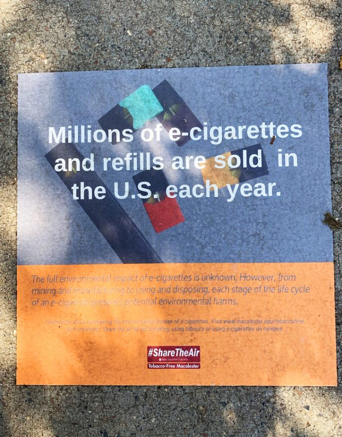 Macalester%27s+tobacco-free+campaign+lines+campus+walkways+with+signs.+These+and+other+efforst+highlight+the+environmental+impact+of+e-cigarettes.+Photo+by+Bergen+Schmidt+%2722.