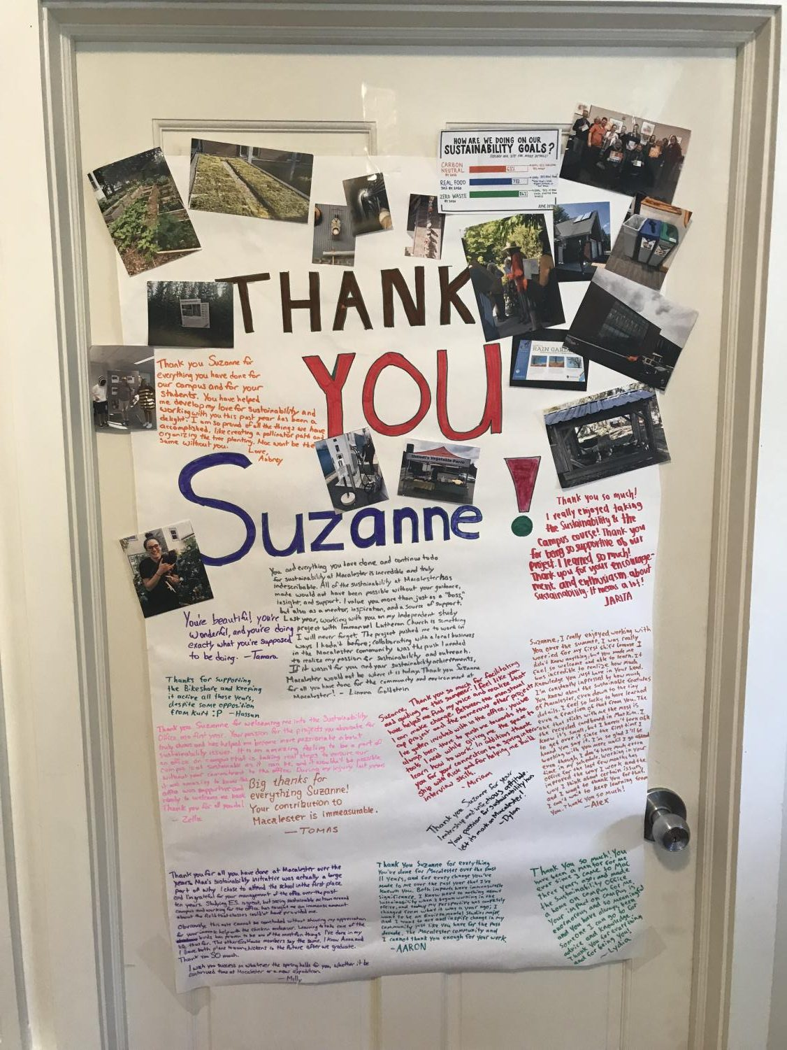 Well-wishers show their support for Sustainability Manager Suzanne Savanick Hansen after news that her position will be dissolved after this semester.