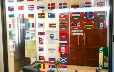 The entrance to Center for Study Away displays flags of countries where students were abroad. Photo by Estelle Timar-Wilcox '22.