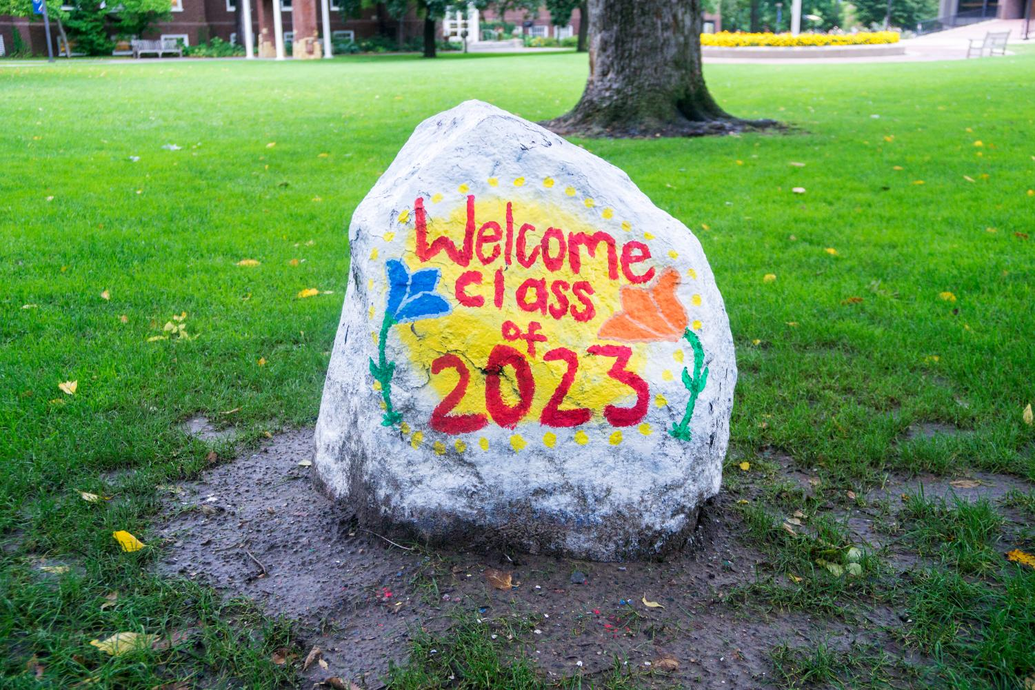 Old Main rock decorated in honor of Macalester class of 2023. Photo by Summer Xu '20.