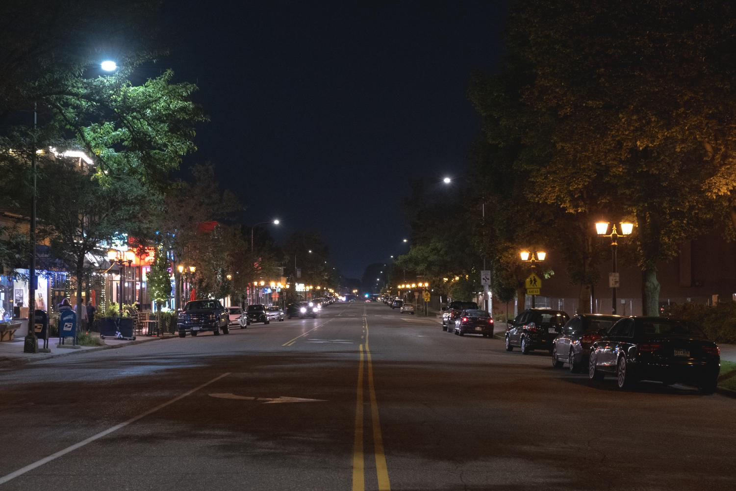 Grand Avenue at night. Photo by Kori Suzuki '21.