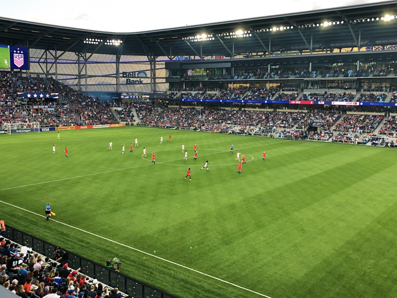 The USWNT takes on Portugal at Allianz Field. The world champion USWNT defeated Portugal 3-0. Photo by Lily Denehy '22.