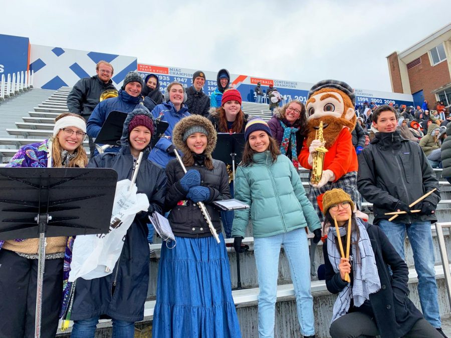Macalester Pep Band performs at a Macalester football game. Photo courtesy of Julia Ricks '22