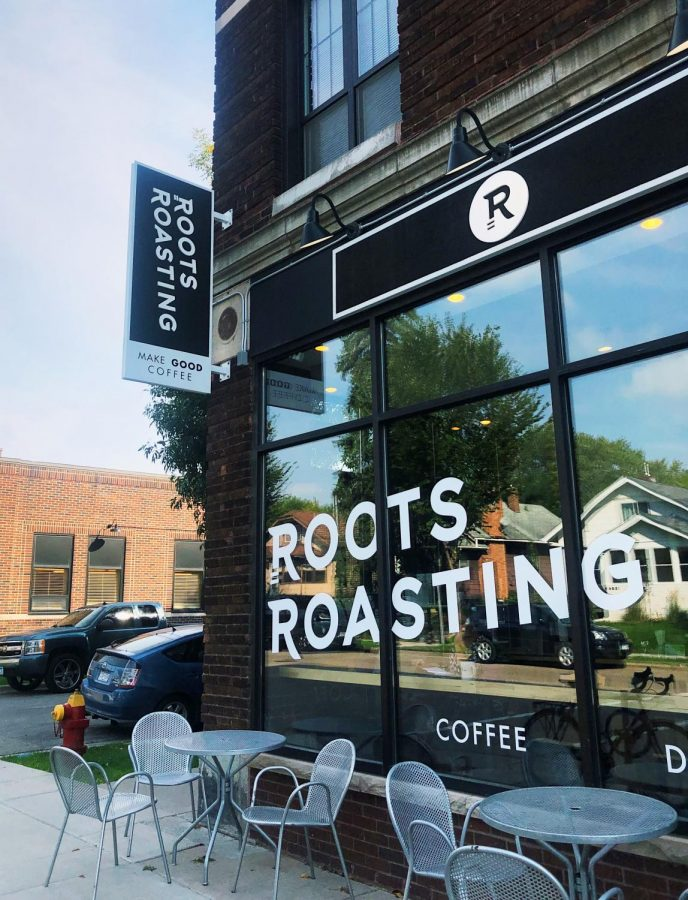 Window looking into Roots Roasting. Photo by Malyn Banitt-Moore '22.