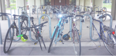 Dupre bike racks where many students lock their bikes. Photo by Smith Mayse '22.