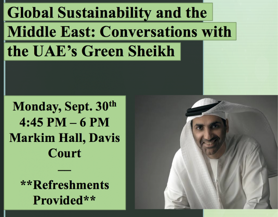 Poster+of+the+original+event%2C+%22Global+Sustainability+and+the+Middle+East%3A+Conversation+with+the+UAE%27s+Green+Sheikh.%22