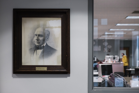 Neill's portrait in the Humanities Building. Photo by Kori Suzuki '21.